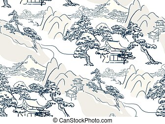 lanscape, chinees, model, seamless, japanner, vector, oosters, mountais