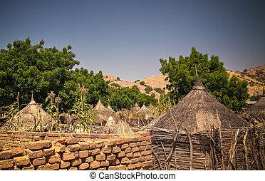 Lanscape with Mataya village of sara tribe people, Guera, ...