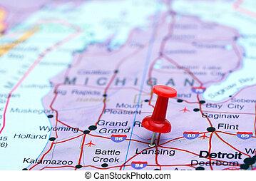 Lansing pinned on a map of USA - Photo of pinned Lansing on...