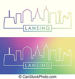 Lansing skyline. Colorful linear style.