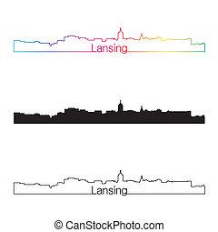Lansing skyline linear style with rainbow