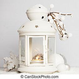 lantaarntje, sneeuw, cristmas