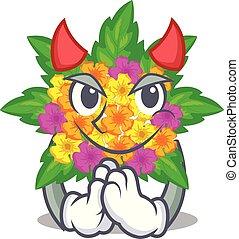 lantana , σχήμα , διάβολοs , λουλούδια , γελοιογραφία