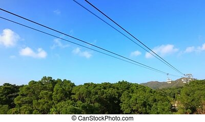 TIME LAPSE: Scenic view of the Cable Car in Lantau Island, popular Chinese religious destination for Tian Tan Buddha temple. Hong Kong, China.