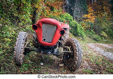 lantbruk, gammal, traktor