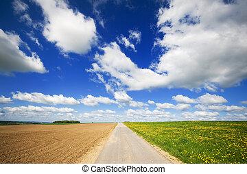 lantbruk, landskap, med, väg, i medel