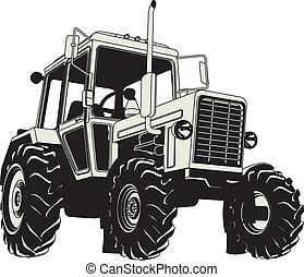 lantbruk, vektor, silhuett, traktor