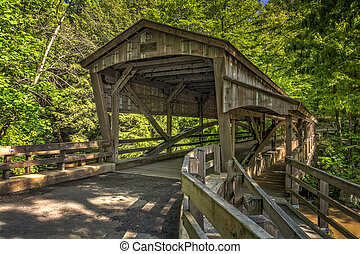 Lanterman Falls Covered Bridge - The covered bridge at...