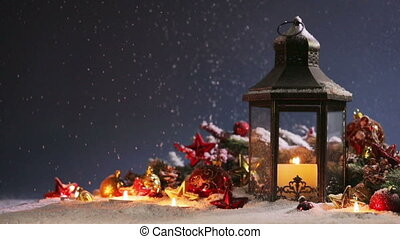 Lantern and christmas decoration - Burning candles , lantern...