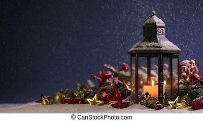 Lantern and christmas decoration - Burning candles , lantern...