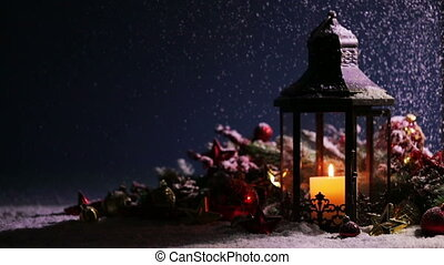 Lantern and christmas decoration - Lantern with candle and ...