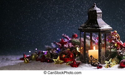 Lantern and christmas decoration - Lantern with candle and...