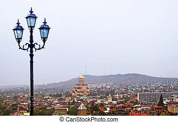 Lantern and nice view of Tbilisi, Georgia