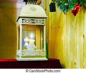 Lantern at Christmas Market in Vilnius Lithuania reflex
