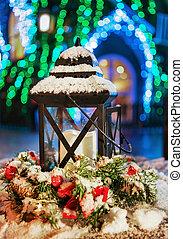 Lantern at Snowy Christmas Market in Vilnius Lithuania