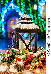 Lantern at Snowy Christmas Market in Vilnius Lithuania new