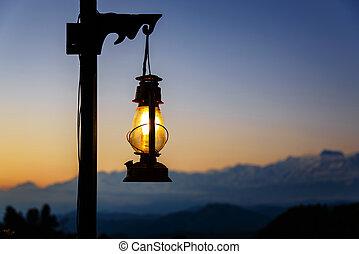 Lantern at sunset