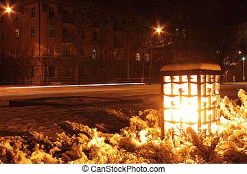 lantern at winter night