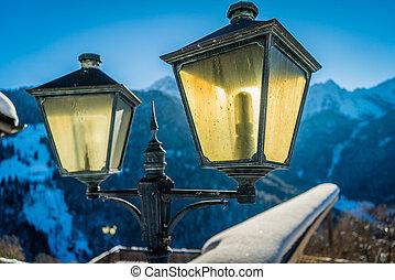 Lantern backlit by the sun