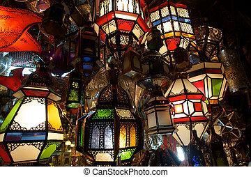 Lantern Bazaar - Coloured ground lamps in Agadir - Morocco.
