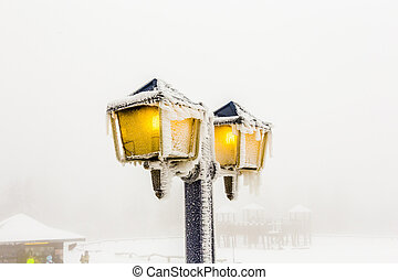 lantern covered with ice in winter