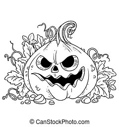 Lantern from pumpkin with the cut out of a grin and leaves outlined for coloring page