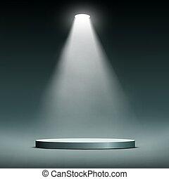 Lantern illuminates round scene.