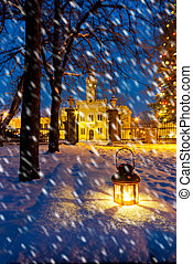 lantern in park at night with snowfall