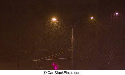 lantern in the night city, snow