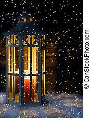 Lantern in the snow flurry