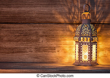 Lantern, Christmas decor, wooden background.