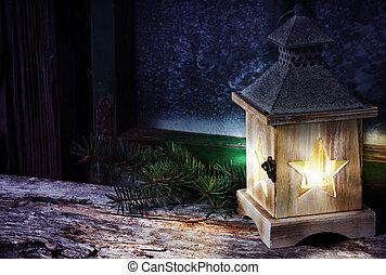 Lantern light at the window