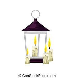 lantern light hanging with candles