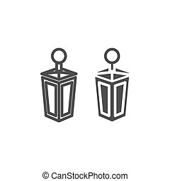 Lantern line and glyph icon. Old lamp web vector illustration isolated on white. Antique lantern outline style design, designed for web and app. Eps 10.