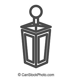Lantern line icon. Old lamp web vector illustration isolated on white. Antique lantern outline style design, designed for web and app. Eps 10.