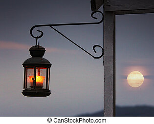 Lantern - Old romantic lantern in front of the sunset