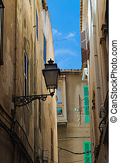 lantern on a narrow street