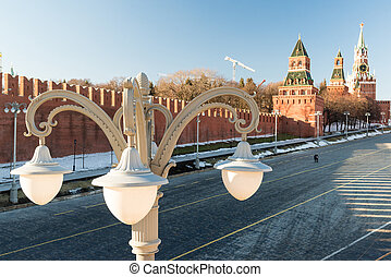 Lantern on background of the Moscow Kremlin, Russia