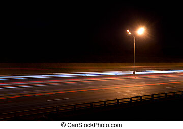lantern on highway in the evening