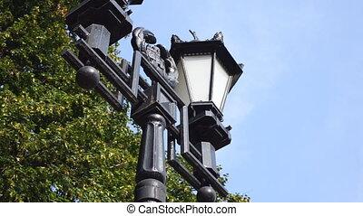 Lantern on the pillar closeup