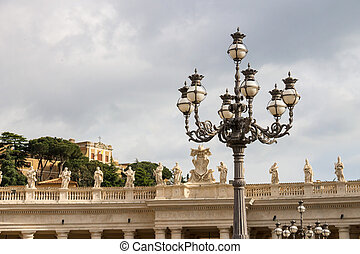 Lantern on St. Peter's Square at the Vatican. Rome, Italy