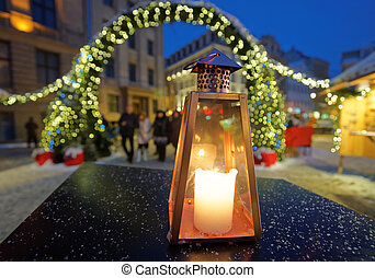 Lantern on the background of the Christmas market