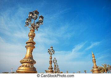 lantern on the bridge in the city