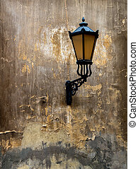 Lantern on the old wall. Background