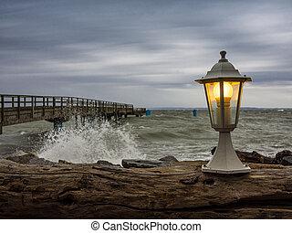 Lantern on the pier in Sassnitz (Germany).
