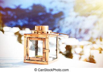 Lantern on the snow