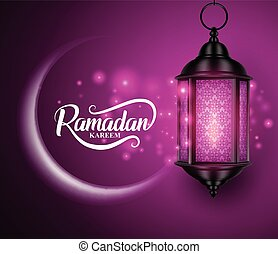 Lantern or fanous hanging with crescent moon and lights for ramadan kareem vector