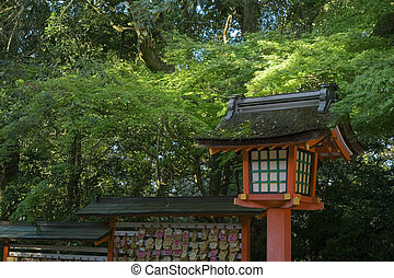 Lantern - Precinct of japanese traditional shrine, landscape...