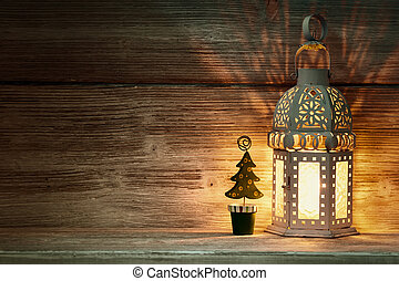 Lantern. - Lantern, Christmas decor, wooden background.