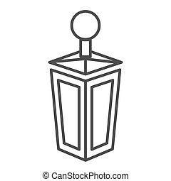 Lantern thin line icon. Old lamp web vector illustration isolated on white. Antique lantern outline style design, designed for web and app. Eps 10.